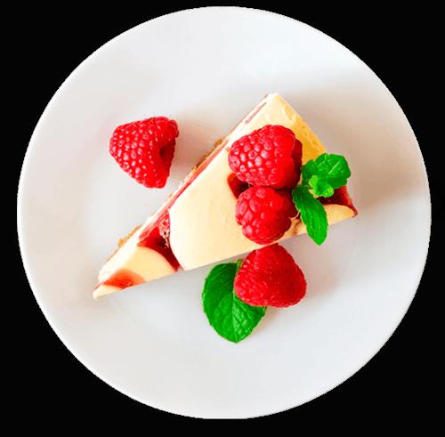 Postre de cheesecake de frambuesa preparado con aceite de cocina